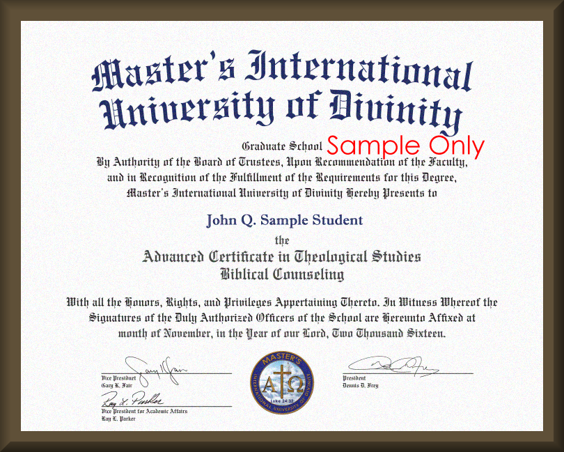 Degree Replacement for Graduates of  Master's International University of Divinity